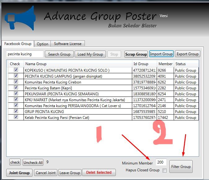 filter jumlah member advance group poster